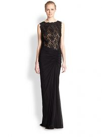 Tadashi Shoji - Ruched Lace-Bodice Gown at Saks Fifth Avenue