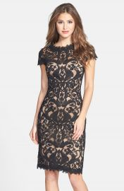 Tadashi Shoji Illusion Yoke Lace Sheath Dress  Regular   Petite at Nordstrom