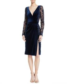 Tadashi Shoji Lace Long-Sleeve  amp  Velvet V-Neck Dress at Neiman Marcus