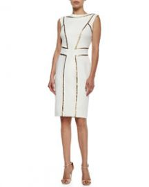 Tadashi Shoji Sleeveless Sequin-Seamed Cocktail Sheath Dress SnowGold at Neiman Marcus
