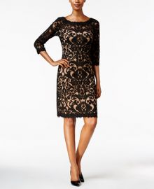 Tadashi Shoji Three-Quarter-Sleeve Lace Dress at Macys
