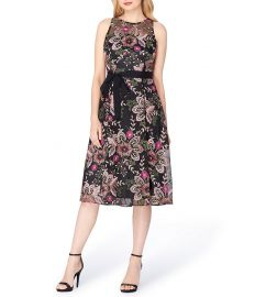 Tahari ASL Mesh Embroidered Midi Dress at Dillards