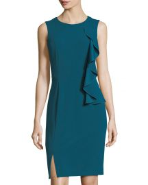 Tahari ASL Asymmetric-Ruffle Sleeveless Scuba Dress at Last Call
