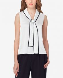 Tahari ASL Contrast-Trim Tie-Neck Blouse at Macys