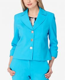 Tahari ASL Cuffed Three-Button Blazer at Macys