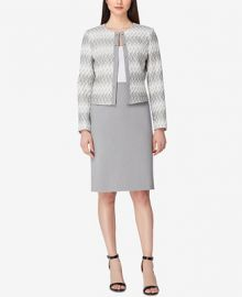 Tahari ASL Jacquard Jacket   Gray Skirt Suit at Macys