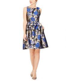 Tahari ASL Metallic Jacquard Bow Fit   Flare Dress   Reviews - Dresses - Women - Macy s at Macys