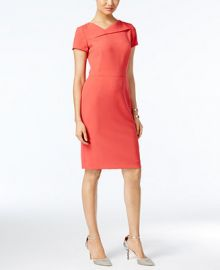 Tahari ASL Short-Sleeve Asymmetrical Sheath Dress at Macys