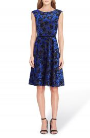 Tahari Flocked Velvet A-Line Dress  Regular   Petite at Nordstrom