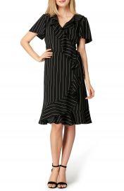 Tahari Stripe Ruffle Faux Wrap Dress  Regular  amp  Petite at Nordstrom