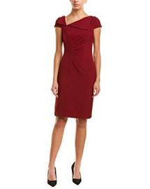 Tahari by ASL Womens Fold-Over Collar Crepe Short Sleeve Crepe Dress at Amazon