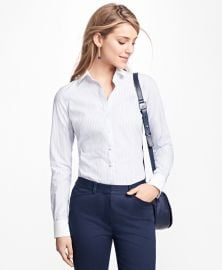 Tailored-Fit Stripe Stretch-Cotton Poplin Blouse at Brooks Brothers