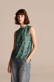 Tailored Margaux Paisley Sleeveless Top  at Rebecca Taylor