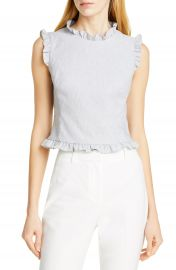 Tailored by Rebecca Taylor Ruffle Detail Sleeveless Linen Blend Blouse   Nordstrom at Nordstrom