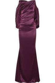 Talbot Runhof - Cold-shoulder cape-effect ruched satin gown at Net A Porter