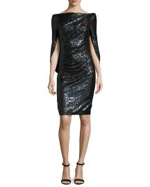 Talbot Runhof Konica Sequined Cape-Back Cocktail Dress  Navy at Neiman Marcus