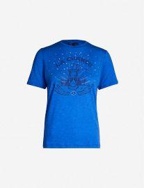 Talia embellished-print jersey T-shirt by Maje at Selfridges