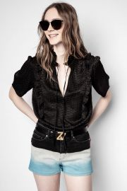 Talino Short Sleeve Silk Jacquard Top  at Zadig and Voltaire