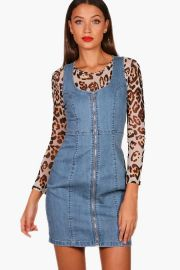Tall Zip Front Denim Bodycon Dress at Boohoo