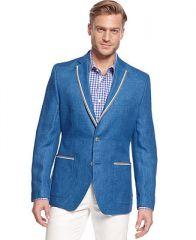 Tallia Orange Blue Solid Linen Slim-Fit Blazer - Blazers and Sport Coats - Men - Macys at Macys