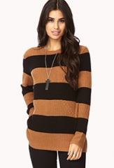 Tan Striped Sweater at Forever 21