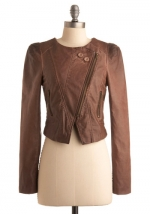 Tan leather style jacket from ModCloth at Modcloth