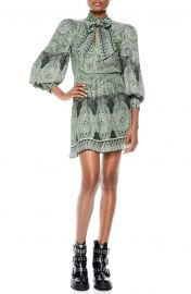 Tanisha Paisley Tie Neck Long Sleeve Dress at Nordstrom