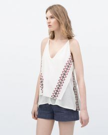 Tank Top with Ethnic Embroidery at Zara
