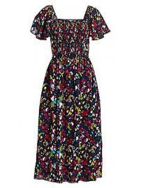 Tanya Taylor - Glenda Smocked Silk Midi Dress at Saks Fifth Avenue