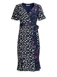 Tanya Taylor - Luisa Mixed Print Silk Wrap Dress at Saks Fifth Avenue