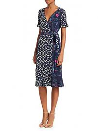 Tanya Taylor - Luisa Mixed Print Silk Wrap Dress at Saks Off 5th