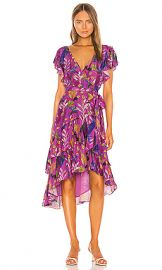 Tanya Taylor Dita Dress in Jungle Leaves  amp  Purple from Revolve com at Revolve