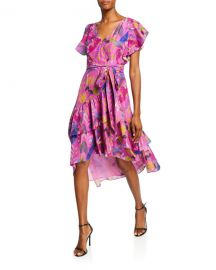 Tanya Taylor Dita Printed Short-Sleeve Wrap Dress at Neiman Marcus