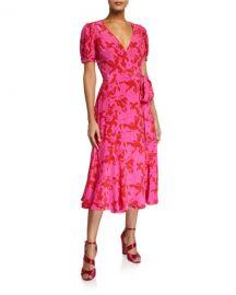 Tanya Taylor Dorothy Printed Short-Sleeve Wrap Dress at Neiman Marcus