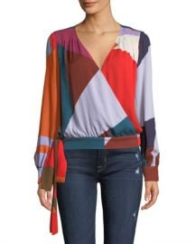 Tanya Taylor Klara Colorblock Long-Sleeve Top at Neiman Marcus