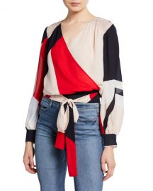 Tanya Taylor Klara Colorblock Long-Sleeve Wrap Top at Neiman Marcus