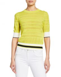 Tanya Taylor Leticia Banded Striped Sweater at Neiman Marcus