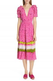 Tanya Taylor Luciana Mixed Print Silk Midi Dress  Regular  amp  Plus Size    Nordstrom at Nordstrom