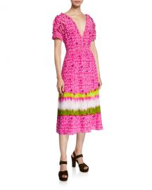 Tanya Taylor Luciana Printed V-Neck Short-Sleeve Dress at Neiman Marcus
