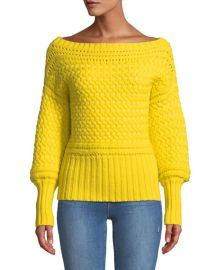 Tanya Taylor Marie Cable-Knit Off-Shoulder Sweater at Neiman Marcus