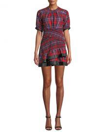 Tanya Taylor Nicole Plaid Flannel Ruffle Mini Dress at Neiman Marcus