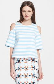 Tanya Taylor and39Irisand39 Stripe Cold Shoulder Top at Nordstrom