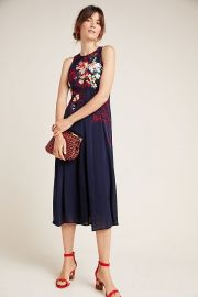 Tanzine Embroidered Midi Dress by Anthropologie at Anthropologie
