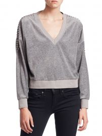 Tapes Cropped V-Neck Sweatshirt at Saks Fifth Avenue