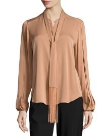 Tara Fringed Tie-Neck Stretch-Silk Blouse at Neiman Marcus