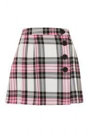 Tartan Checked Button Kilt A-Line Skirt   at Topshop