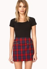Tartan mini skirt at Forever 21