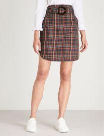 Tartan-print woven skirt sandro at Selfridges