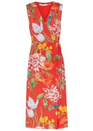 Tasia red printed silk wrap dress at Harvey Nichols