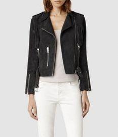 Tassel Leather Biker Jacket at All Saints